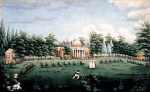 View_of_the_West_Front_of_Monticello_and_Garden,_depicting_Thomas_Jefferson's_grandchildren_at_Monticello,_watercolour_on_paper_by_Jane_Braddick_Peticolas_1825_at_Monticello